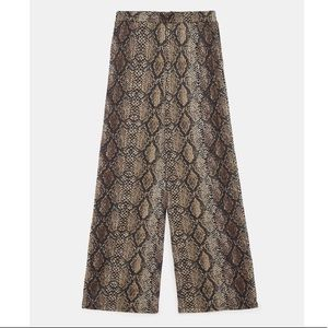 NWT Zara Snake Printed Textured Wide Leg Pants